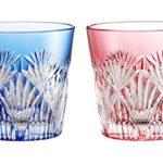 カガミクリスタル ペア冷酒杯(笹っ葉に斜十文字紋) 120cc